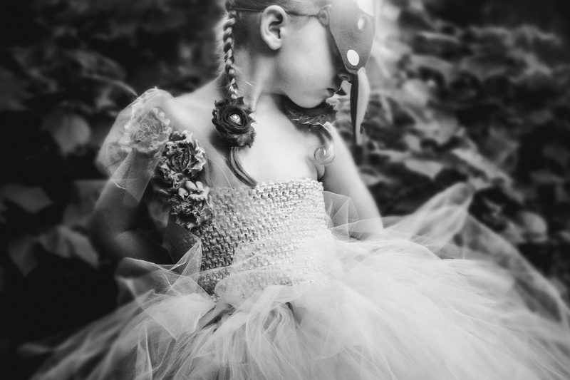 Children and Senior Photography, little girl in dress and a mask
