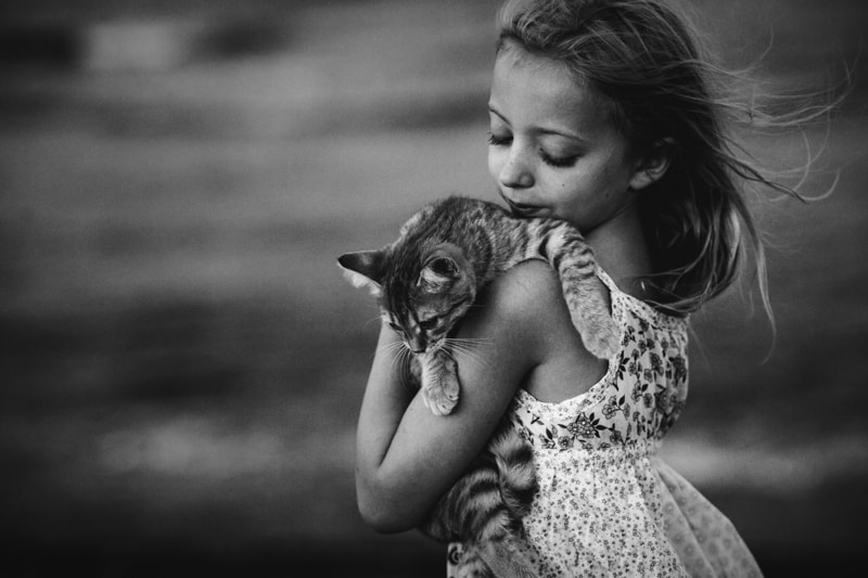 Children and Senior Photography, black and white of little girl holding a cat