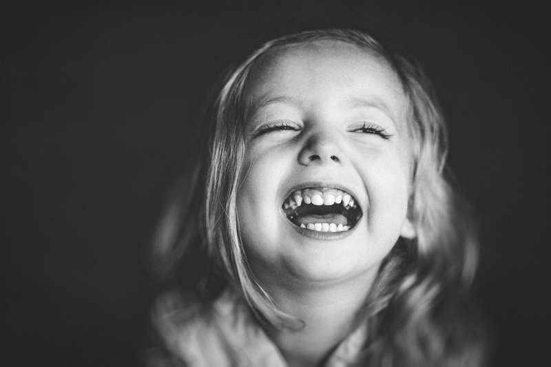 Children and Senior Photography, black and white of little girl smiling