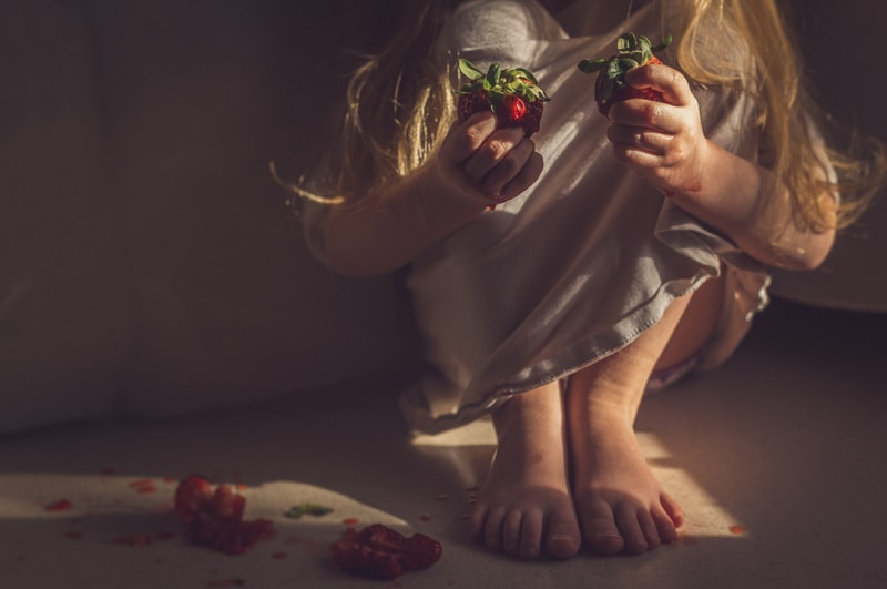 Personal Work, little girl with smashed strawberries